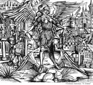 Gravure tirée d'une édition des oeuvres de Virgile, Lyon, Typographaria Officina Ioannis Crespini, 1529