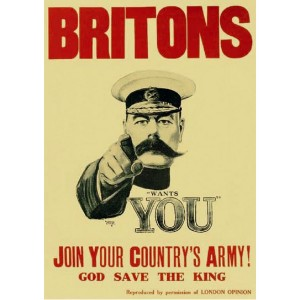 "Alfred Leete, ""Britons. Join Your Country's Army !"", affiche montrant Lord Kitchener, ministre de la guerre britannique, 1914"