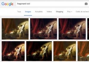 Résultat d'une recherche sur Google des occurrences de «Fragonard viol»